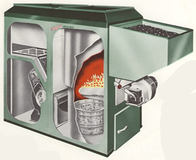 Keystoker a 120 coal hot air furnace for Hot air heating systems